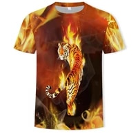summer new tiger mens t shirt fashion round neck casual animal lion short sleeved loose breathable sports oversized t shirt