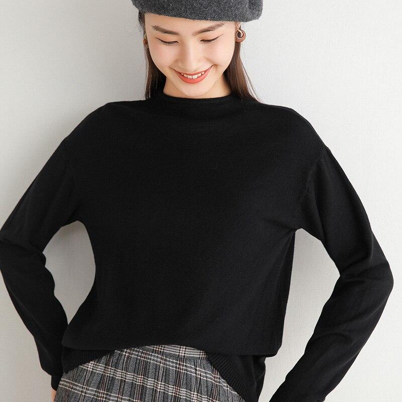 Women's Base Shirt Autumn and Winter Sweater Loose 2021 New Short Half-High Collar Inner Match Knitt