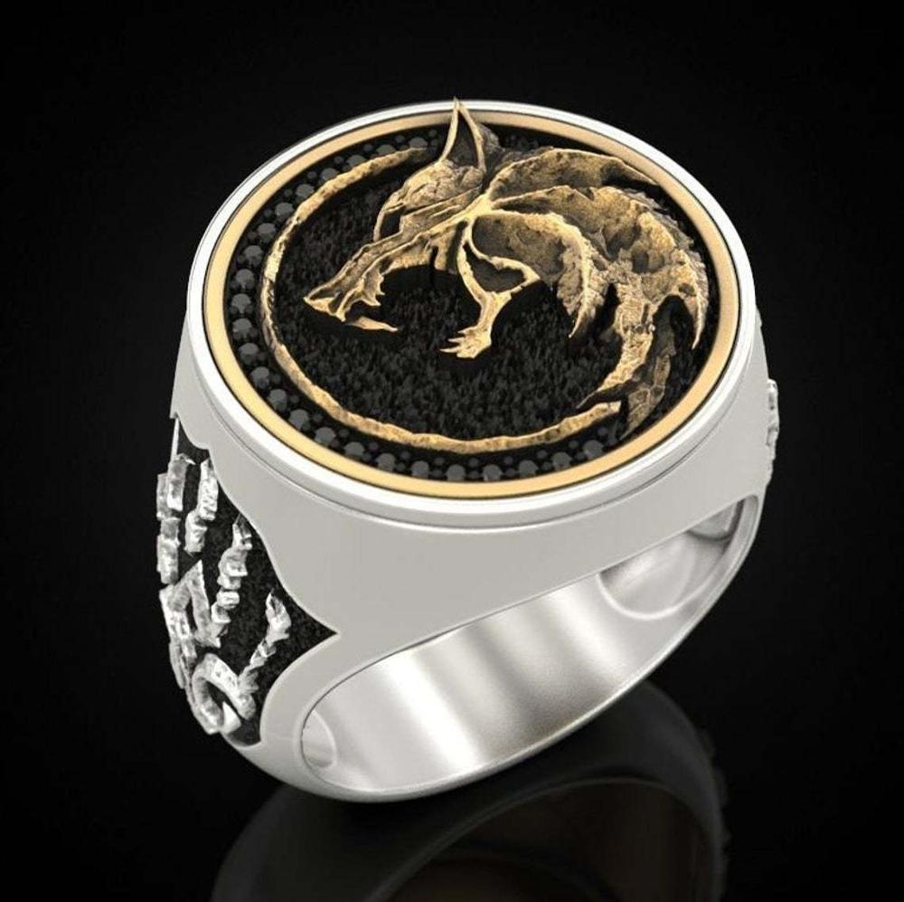 Lujoso y exquisito S925, guerrero vikingo de dos colores, multi-witcher, cazador, garra de Lobo, joyería, anillo de compromiso de hombre para boda