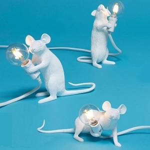 Modern Resin Mouse Table Lamp Desk Light E12 Nordic Study Kids' Room Indoor Decorative LED Night Lights Home Lighting Fixtures