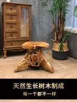 natural log root carving stool solid wood wooden pile flower stand base coffee table tea table with stool round wooden stool