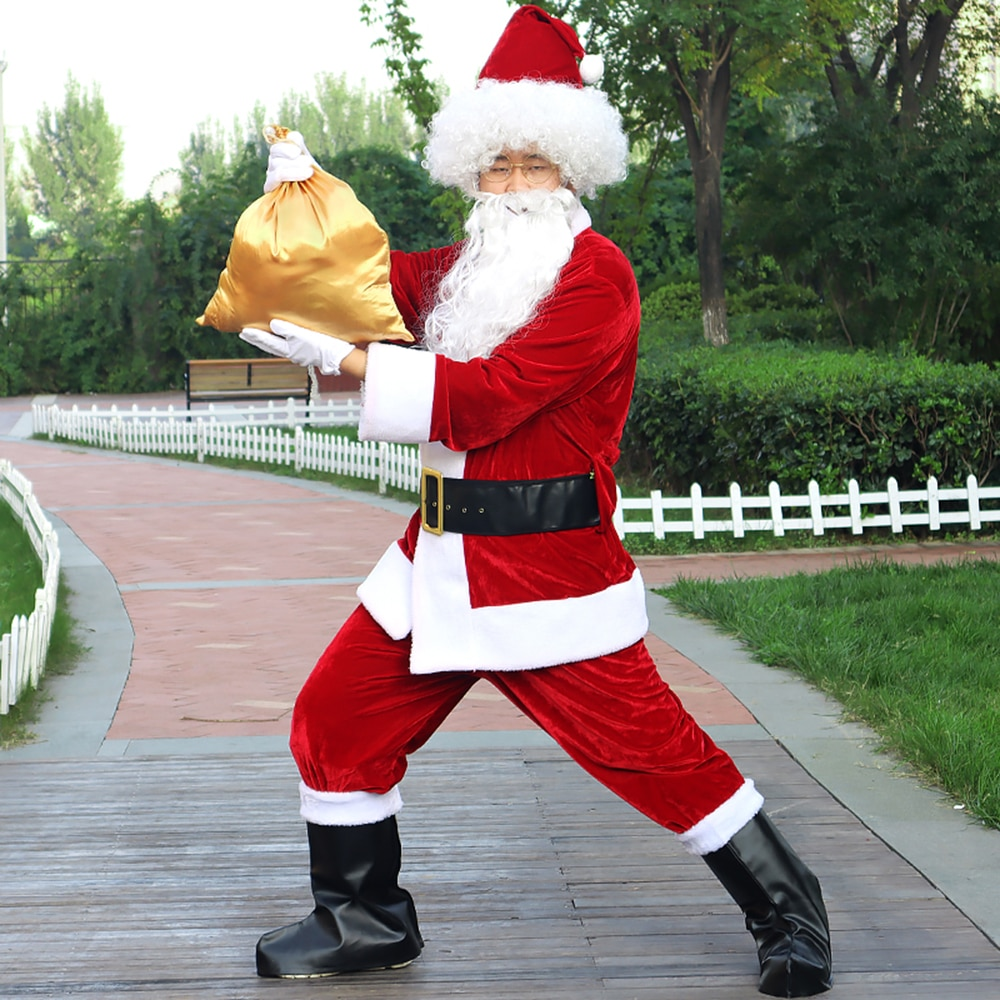 Christmas Santa Claus Costume Cosplay Hat Beard Clothes Fancy Dress In Christmas Men 9pcs/lot Costume Suit For Adults 3XL-6XL newest christmas costume santa claus costume suit adult couple performance costume set outfit