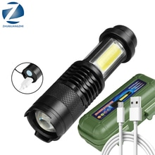 XP-G Q5 Built-in Battery Mini  LED Flashlight USB Charging COB Zoomable Waterproof Torch Aluminum Lantern  Use AAA Battery