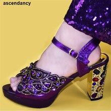 Zapatillas de verano decoradas con diamantes de imitación para mujer, zapatos italianos de buena calidad para mujer, zapatos africanos de boda de alta calidad
