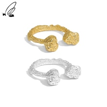 S'STEEL 925 Sterling Silver Open Ring Design Double Bone Texture Gift For Women's Gold Rings Party 2