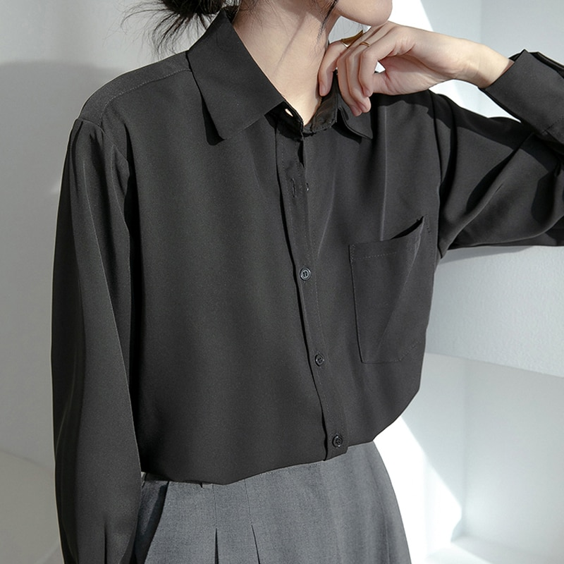 H0fb71bb8dcb142c8a63a2a56c56c8dddD - Spring / Autumn Turn-Down Collar Long Sleeves Solid Pocket Blouse