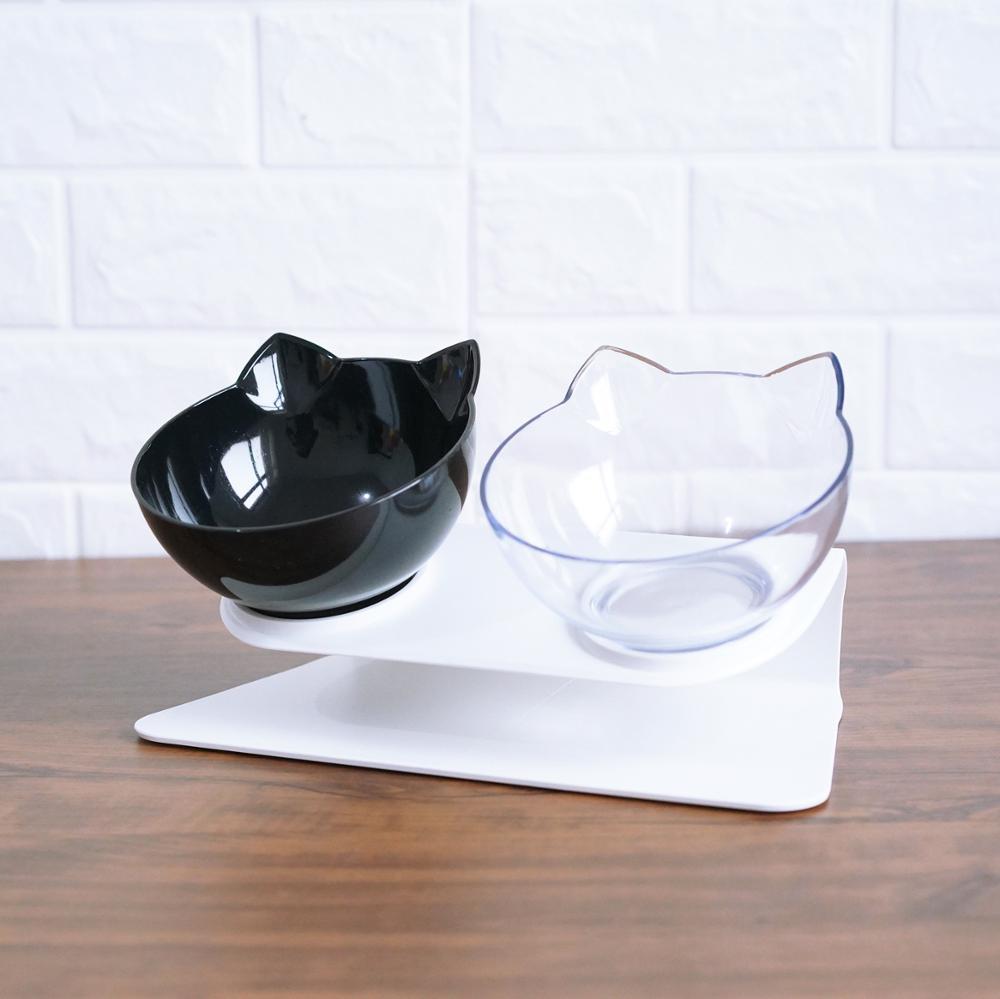 Ортопедическая миска для кошек двойные миски с приподнятой подставкой миска для еды для кошек миска для воды для кошек Домашние животные кормушки для собак Нескользящие товары для домашних животных