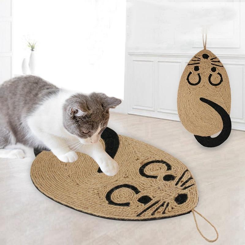 Cat Wear-resistant Scratching Mat Mouse Toys Skid-proof Pet Pad Natural Sisal Mat Pet Cat Supplies