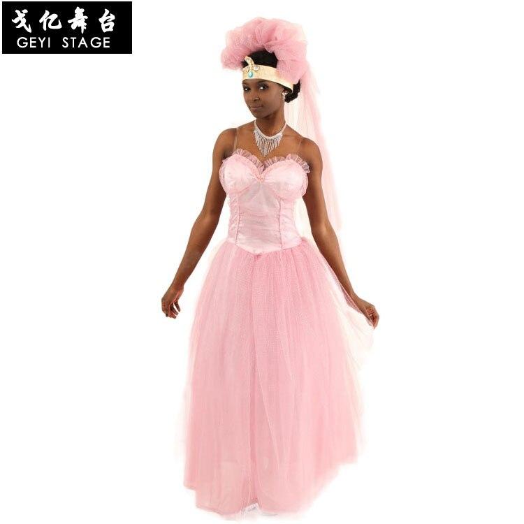 Vestido de novia rosa, película vino a los Estados Unidos, disfraz para espectáculo en escena, vestido de novia dama de honor, vestido de gasa de princesa