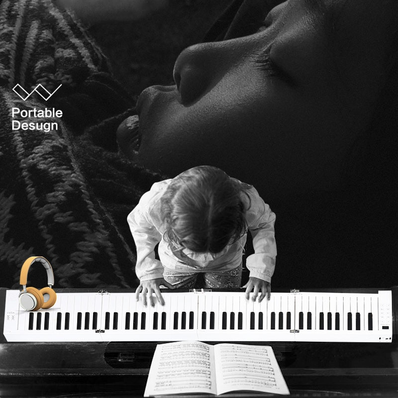 Portable Hand-Rolled Piano 88 Keys Folding Keyboard Support Headphone Output Professional Electronic Piano for Beginner Student enlarge