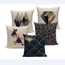 Geométrico Negro Azul cojín Cove textiles Hill oro Dero almohada fundas 20x20, 18x18, 16x16, 24x24, Cm cuadrado sofá cama 3D almohada cubierta