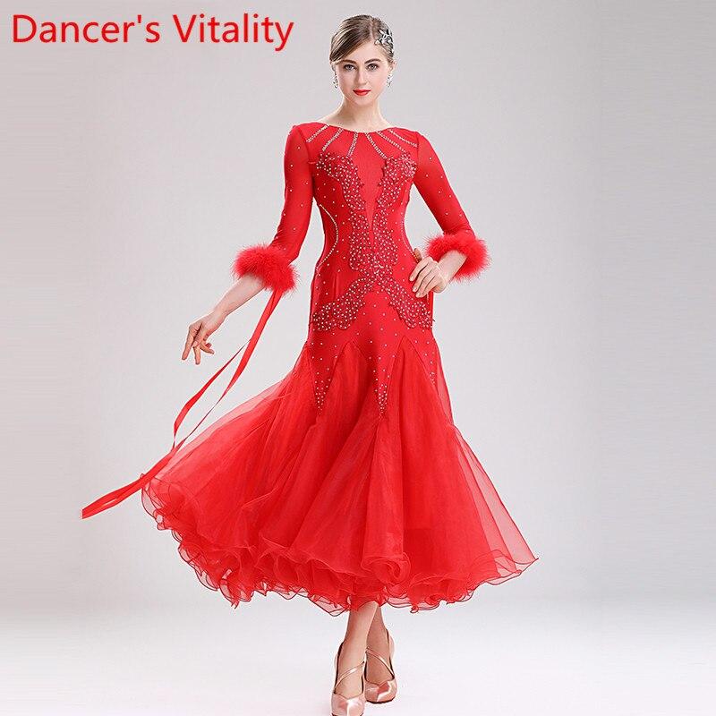 Ropa de baile moderno vals actuación de baile Slap-up Big Hemlines pluma vestido Salón Nacional estándar danza etapa desgaste
