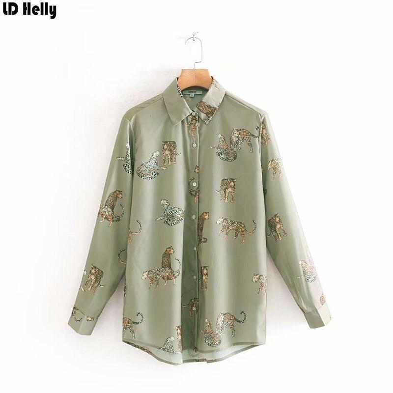 LD Helly 2019 camisas largas con estampado de leopardo para Mujer y manga larga con cuello vuelto Blusas cómodas Blusas Mujer