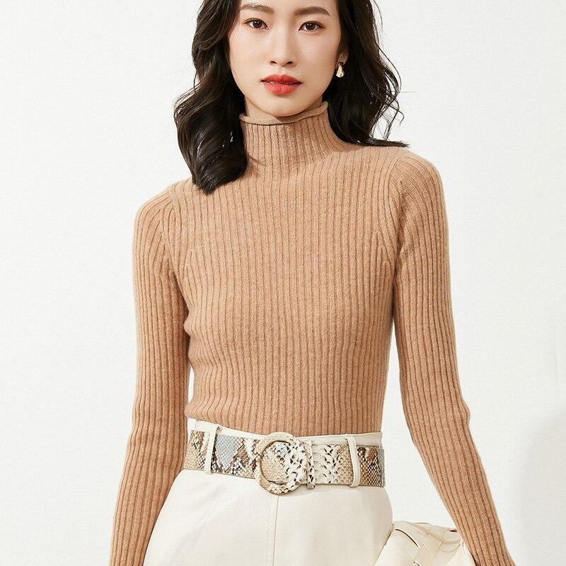 Кашемировый свитер, женский свитер с высоким воротником, однотонный вязаный пуловер с высоким воротником, шерстяной свободный свитер для ж...