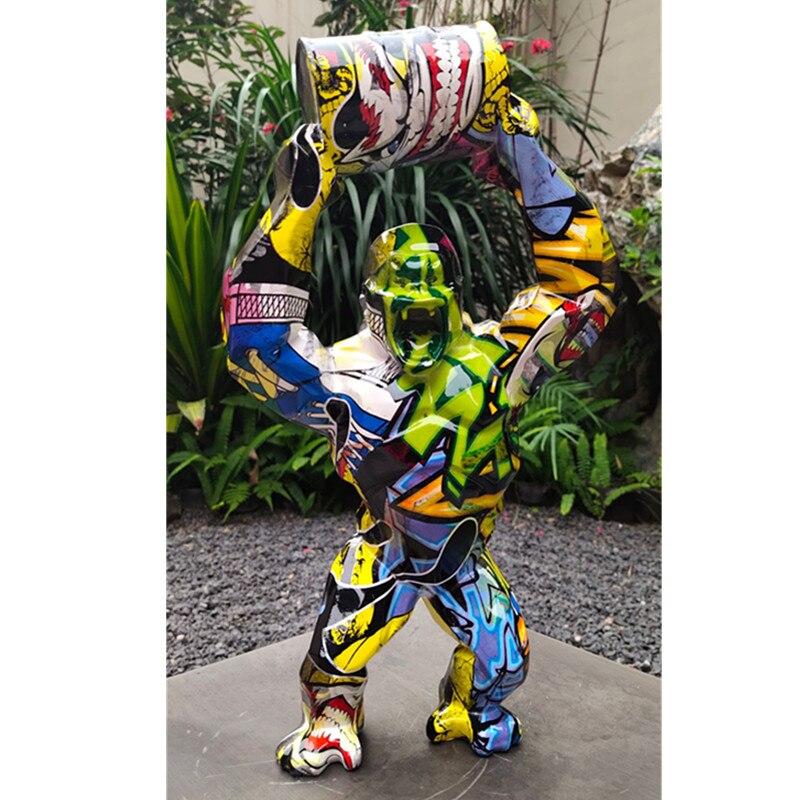 Gran mono simulación Animal arte estatua Gorilla Bust decoración creativa figura de acción de resina juguete de modelos coleccionables 40CM M3994