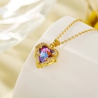 korean heart of ocean necklace female love forever crystal zircon pendant necklace gold color choker women chain jewelry