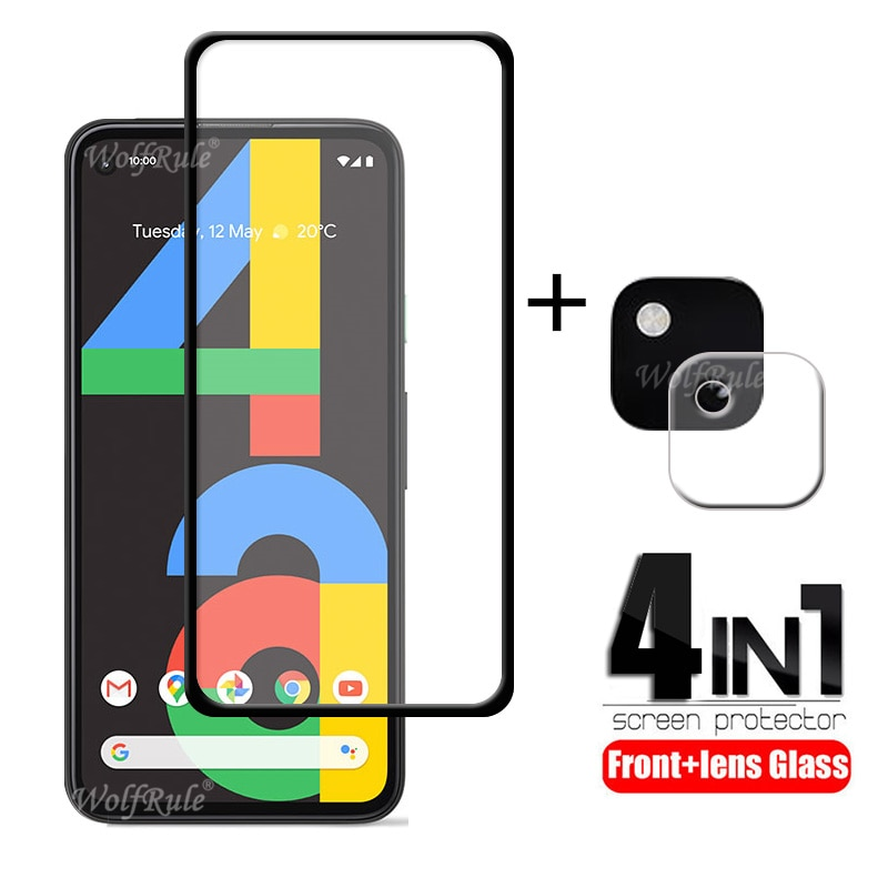 4-in-1 For Google Pixel 4a Glass For Google Pixel 4a Tempered Glass Full Glue HD Screen Protector For Google Pixel 4a Lens Glass