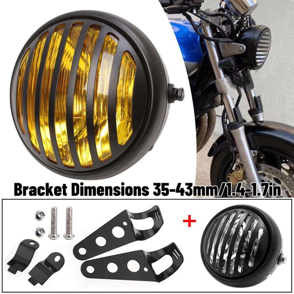 مصابيح أمامية هالوجين للدراجات النارية ، معدن أسود ، ريترو ، 35 واط ، مناسبة لـ CG125 GN125 CB CL Yamaha Suzuki Cafe Racer ، Bobber ، حسب الطلب