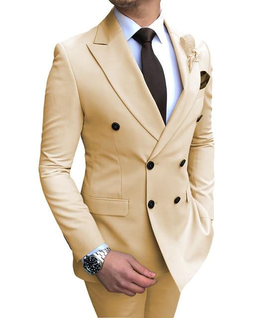 بدلة رجالية بيج جديدة 2 قطعة مزدوجة الصدر الشق التلبيب شقة سليم صالح عادية البدلات الرسمية لحفل الزفاف (السترة + السراويل)