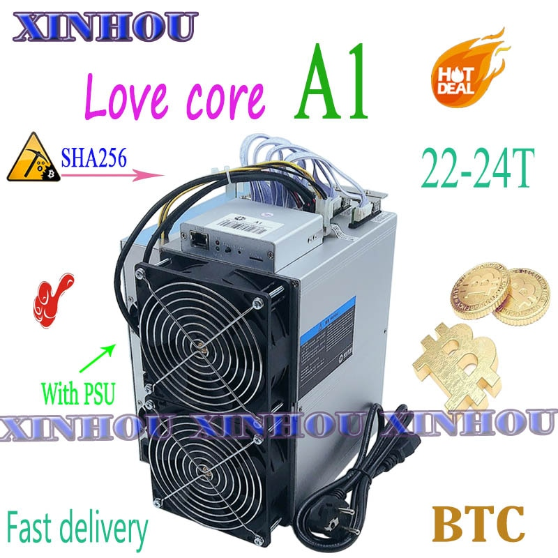 Used BTC BCH miner Love Core A1 22 SHA256 ASIC miner With PSU Economic Than M20S M21S T3 T2 T2T Antminer S9 S17 T17 S17e E12 A1