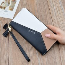 Pochette femme rose portefeuille femme longue style coréen couleur contrastante panneau fermeture éclair Tassled portefeuille grand Volume téléphone portable