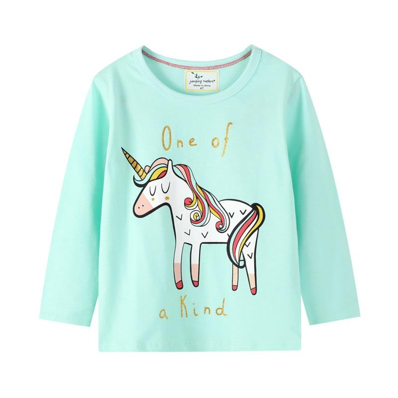 Jumping meters/Хлопковые футболки с длинными рукавами и принтом единорога для девочек на осень и весну, милая детская одежда, футболки, топы
