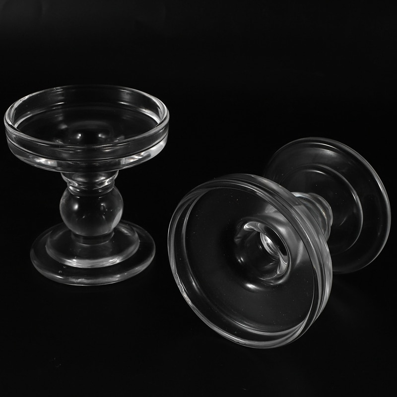 Hot 4 Pcs Clear Glass Pillar Candle Holder, Dual Use Taper Candle Stand for Pillar Candlesticks 3.15Inch & 4.5Inch