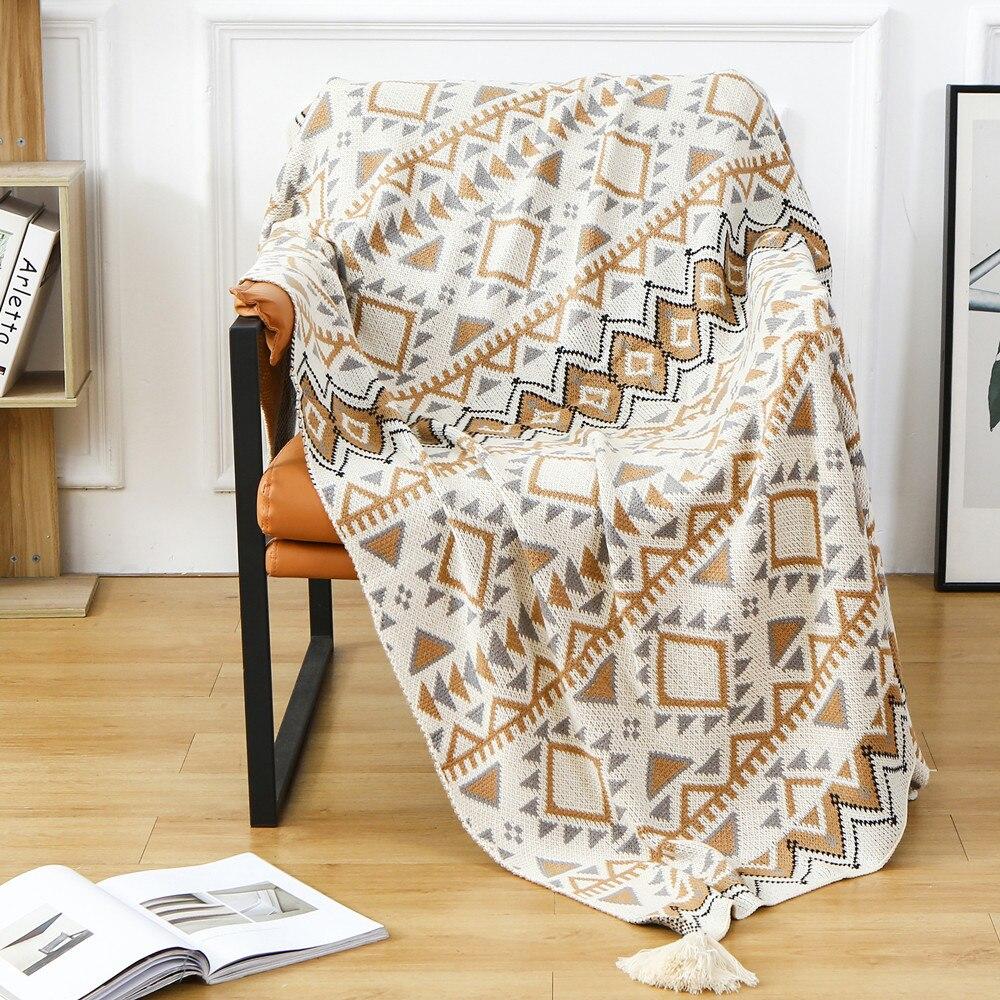 البوهيمي رمي بطانية محبوك غطاء أريكة 100% الاكريليك قيلولة الترفيه بطانية الشتاء الصوف شال الدافئة ديكور المنزل السرير نهاية منشفة
