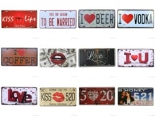 I love Coffee Kiss Life 520 Vodka Vintage Metal tin Sign Tintin Plate Garage License Vintage Garage Plaque Metal Painting Wall