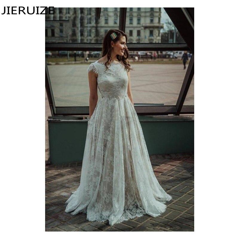 JIERUIZE elegante encaje vestidos De Novia Bohemia joya cuello manga con fajín...