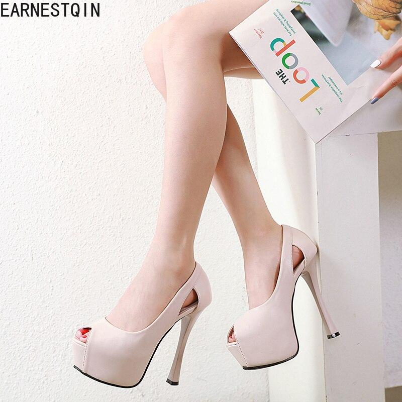 Europa nueva 14CM Sandalias de tacón alto costura peep toe zapatos de tacón alto para mujer