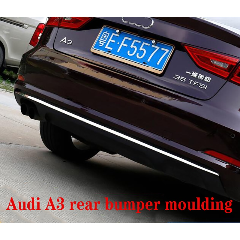14-16 Models For Audi A3 Three Compartment Refit Posterior Lip Rear Bumper Trim Strip Stainless Steel Rear Bar Moulding