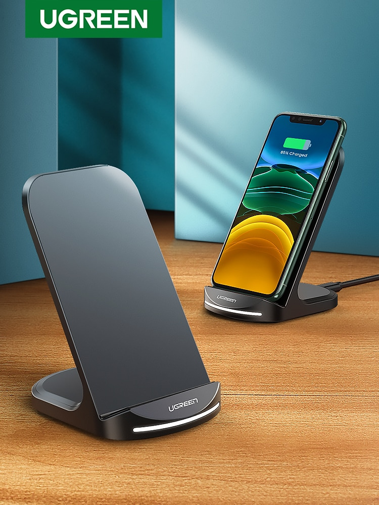 Ugreen Qi Wireless Charger Stand for iPhone 12 Pro X XS 8 XR Samsung S9 S10 S8 S10E Fast Wireless Ch
