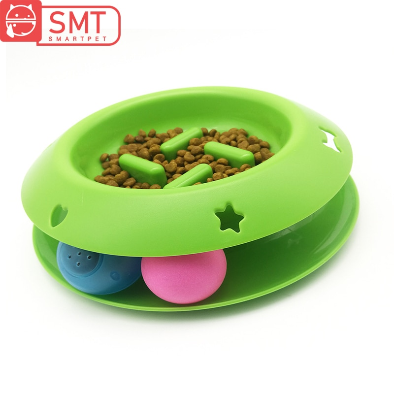 Divertido gato mascota interactivo juguete Torre pistas disco gato IQ tratar Bola de luz intermitente juguete con sonido Pet Anti- cuenco de alimentación lenta