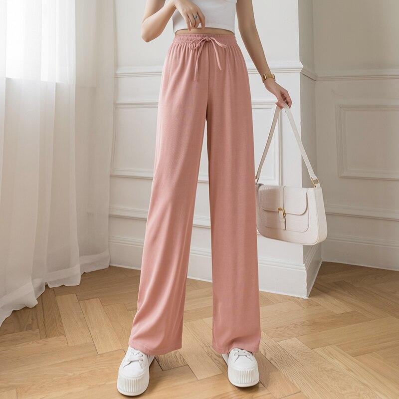 Слаксы женские свободные летние брюки мягкие ледяные Шелковые Широкие брюки женские брюки с высокой талией тонкие трикотажные брюки