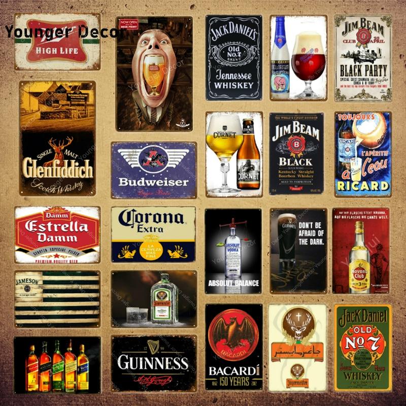 Классическое Вино, виски, металлические знаки, Estrella Damm, пивная доска, винтажный бар, Пивной клуб, человек, пещера, Настенный декор, черные вечерние YI-071 для плакатов