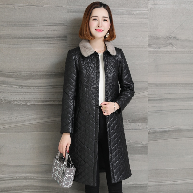 Classic Winter Black Large Leather Coat Women Long Mink Collar Sheep Leather Jacket Cotton Korean Pockets Slim Thick Outwear