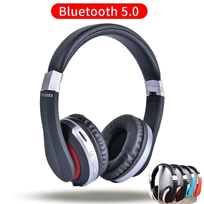 Auriculares inalámbricos Bluetooth, auriculares estéreo plegables con bajos para juegos, auriculares con micrófono, compatible con tarjeta TF para teléfono móvil
