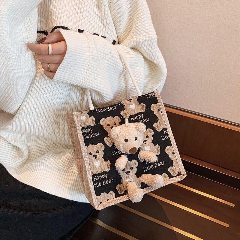 DIY Little bear Handbag New Korean handbag girl Linen fabric handmade women's bag Women's ha