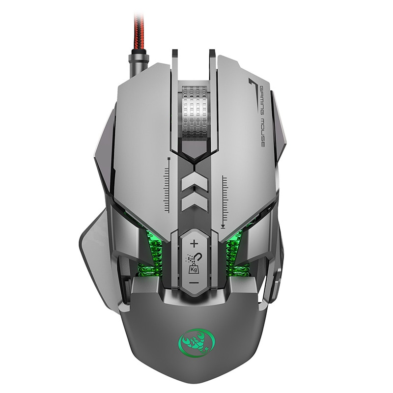 Aluminum Alloy Wired Mouse 6400DPI With Magnetic Counterweight Block Sports Game Chip Adjustable Definition Gaming Mouse Gamer