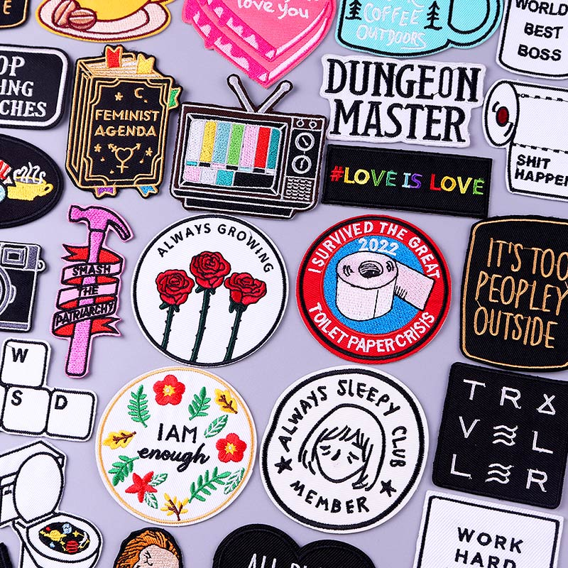 Патчи С мультяшными цветами и надписями для геев, патчи для одежды, наклейки с вышивкой буквами, Аппликации, значки, нашивки «сделай сам» на ...