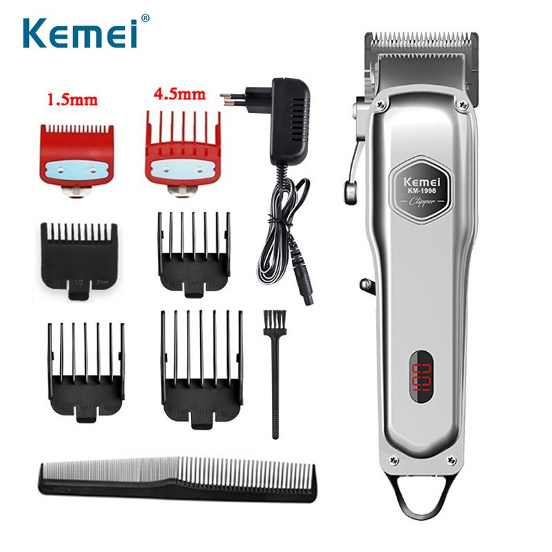 Kemei Professional Barber Clipper Rechargeable Hair Trimmer Men Electric Hair Clipper Adjustable Bea