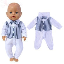 2021 New Line Check 2 Piece jumpsuits fit for 43cm Baby Doll Clothes Accessories,Children Best Birth