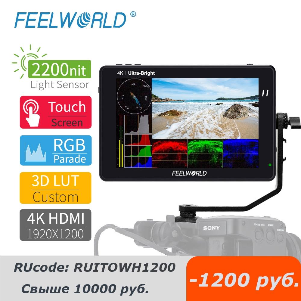 Feel world LUT7 LUT7S برو 4K رصد 7 بوصة على كاميرا DSLR جهاز المراقبة الميدانية ثلاثية الأبعاد لوت شاشة تعمل باللمس IPS FHD 1920x120 0 كاميرات فيديو