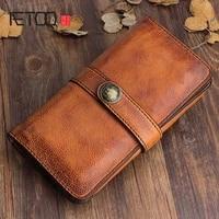 aetoo original design handmade retro leather mens long wallet first layer of leather handbag clasp soft leather