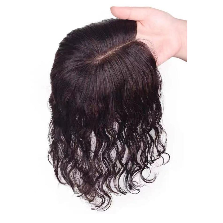 Wavy Human Hair Topper Silk Base Women Toupee European Virgin Hair Piece 13X12cm Free Parting Silk Toppers for Thinning Hair