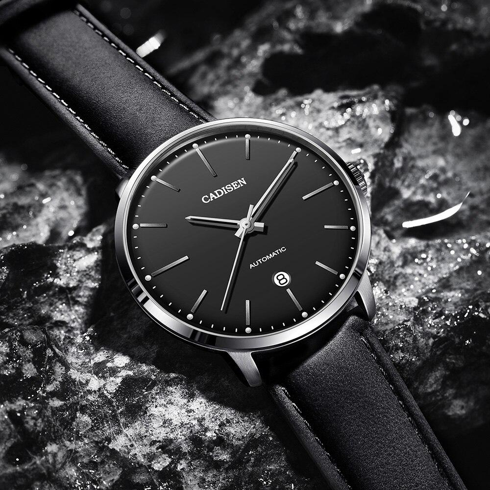 CADISEN العلامة التجارية الرجال الساعات التلقائي الميكانيكية ووتش ميوتا 8215 ساعة الجلود عارضة الأعمال الرجعية ساعة اليد Relojes هومبر