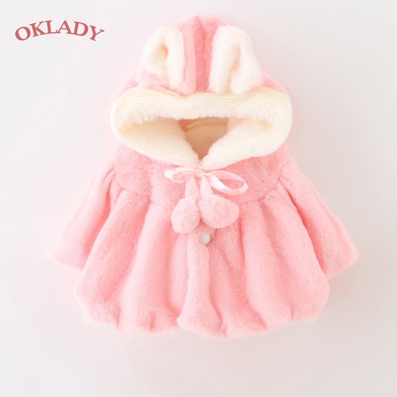 OKLADY invierno niñas abrigo mullido niño cálido con capucha capa algodón princesa chal felpa lindas niñas primavera Rosa abrigos 1 -4T