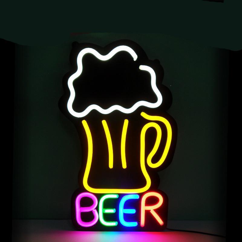 Неоновая вывеска под заказ, светодиодный гибкий неоновый бар и пивная вывеска, магазин, пивной бар, паб, человек, пещера, бизнес, стеклянный н...