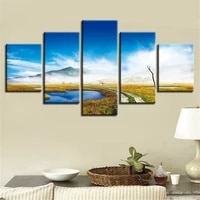 5 pieces wall art canvas painting marsh natural landscape poster pictures modular home modern living room bedroom decoration